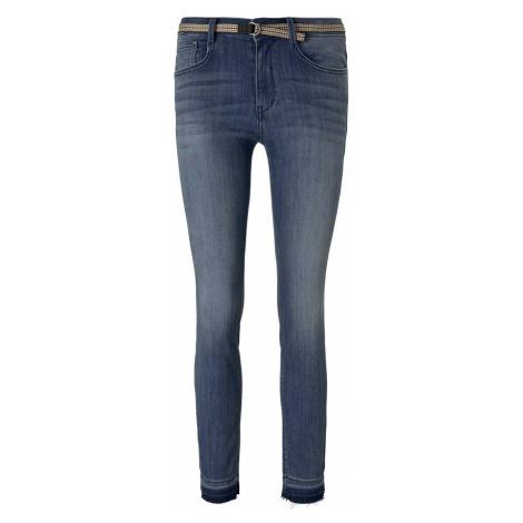 TOM TAILOR Damen Alexa Skinny Jeans mit gefranstem Bein, braun