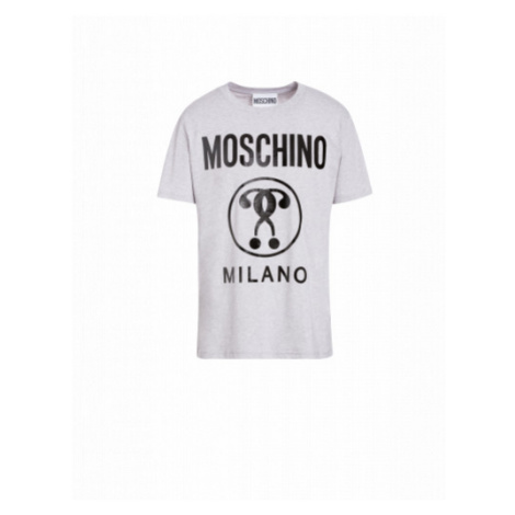 Baumwoll-t-shirt Mit Double Question Mark-logo Moschino