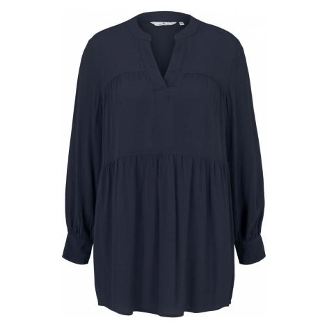 TOM TAILOR Damen Tunika Bluse mit Volants, blau