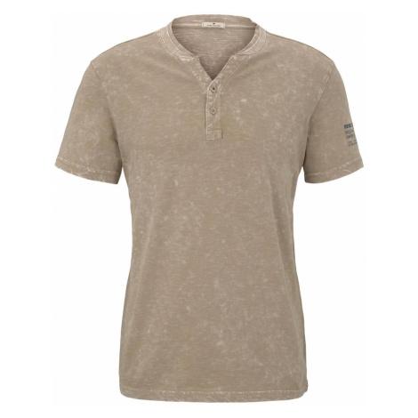 TOM TAILOR Herren Henley-T-Shirt im Washed-Look, beige
