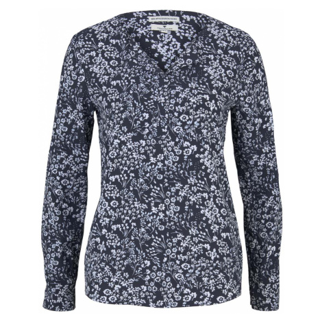 TOM TAILOR Damen Gemusterte Bluse mit LENZING(TM) ECOVERO(TM) und V-Ausschnitt, blau