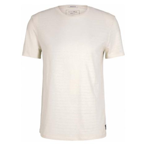 TOM TAILOR DENIM Herren strukturiertes T-Shirt mit Bio-Baumwolle , beige