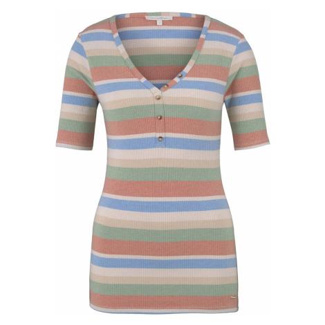 TOM TAILOR DENIM Damen Henley-Shirt in Ripp-Optik, orange
