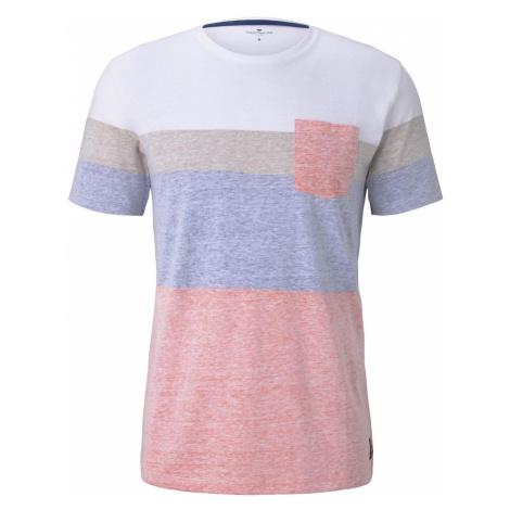 TOM TAILOR Herren T-Shirt mit blassem Streifenprint, orange