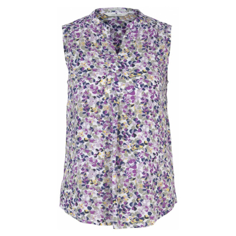 TOM TAILOR Damen Ärmellose Bluse mit LENZING(TM) ECOVERO(TM) im Blumenmuster, lila
