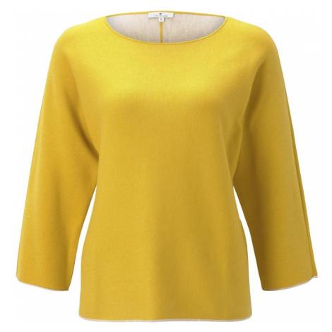 TOM TAILOR Damen Basic Pullover mit Fledermausärmeln, gelb