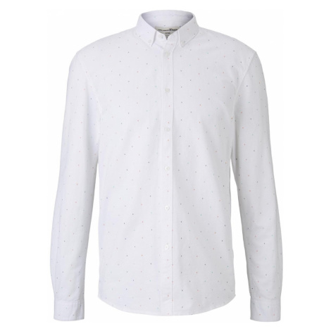 TOM TAILOR DENIM Herren Hemd mit Allover-Print, weiß