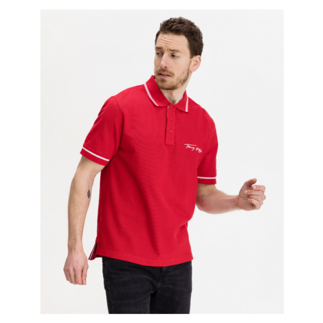 Tommy Hilfiger Tipped Signature Polo T-Shirt Rot