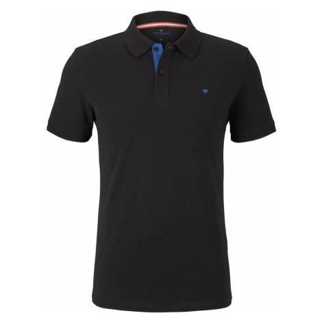 TOM TAILOR Herren Basic Poloshirt, schwarz, unifarben