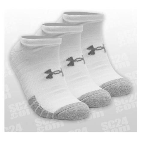 Under Armour HeatGear No Show Socks 3er-Pack weiss/grau Größe 36-42