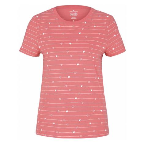 TOM TAILOR Damen Gemustertes T-Shirt mit Bio-Baumwolle , rosa