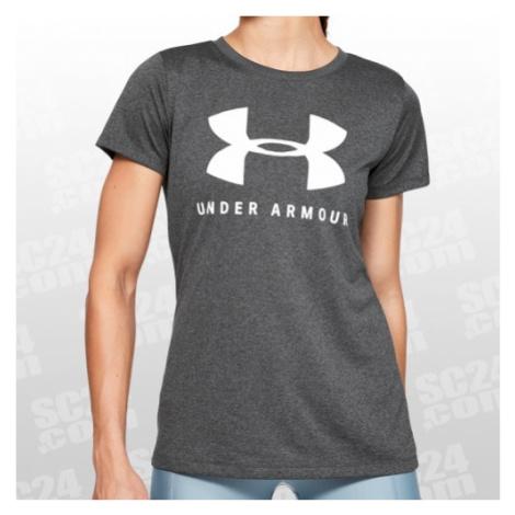 Under Armour Tech Logo Tee Women grau/weiss Größe XS