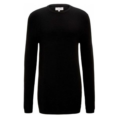 TOM TAILOR DENIM Herren Langer Pullover mit Struktur, schwarz