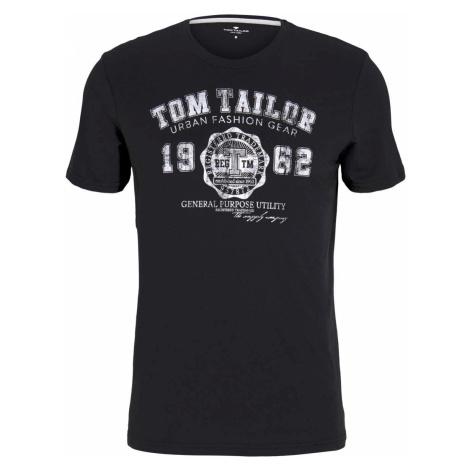 TOM TAILOR Herren T-Shirt mit Logo-Print, schwarz