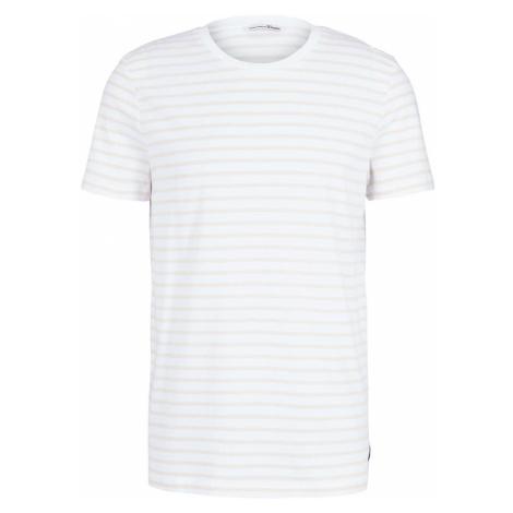 TOM TAILOR DENIM Herren gestreiftes T-Shirt, weiß