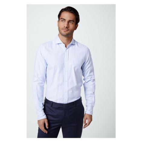 Smart-Shirt Lano in Hellblau-Weiß gestreift