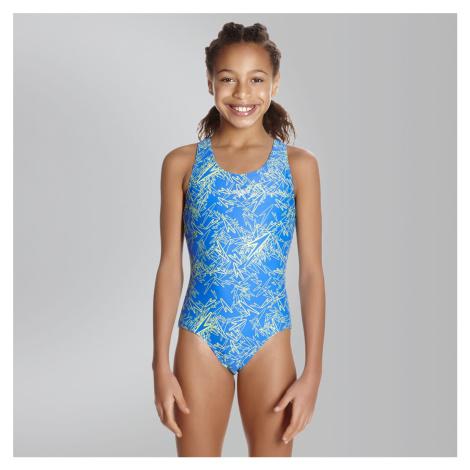Speedo Boom Splashback Badeanzug mit Allover-Print, Blau/Grün