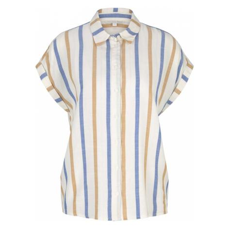 TOM TAILOR DENIM Damen Kurzarm Hemdbluse mit Streifenstruktur, beige