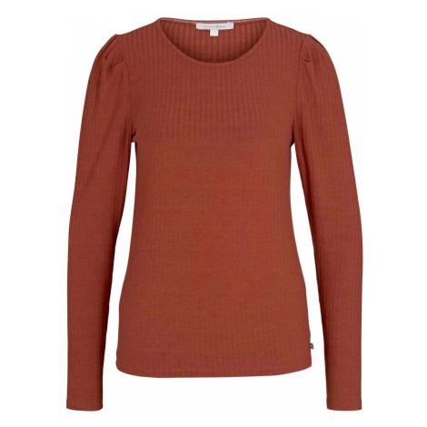 TOM TAILOR DENIM Damen Langarmshirt mit Puffärmeln, orange