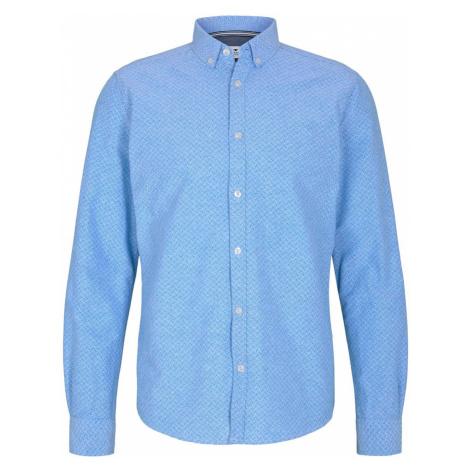 TOM TAILOR Herren Gemustertes Oxford-Hemd, blau