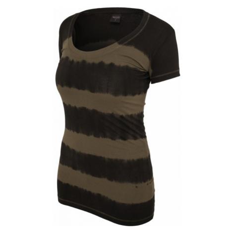 Urban Classics Ladies Dip Dye Stripe Tee d.gry/olive