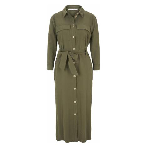 TOM TAILOR Damen Blusenkleid mit Bindegürtel in Midi-Länge, grün, unifarben