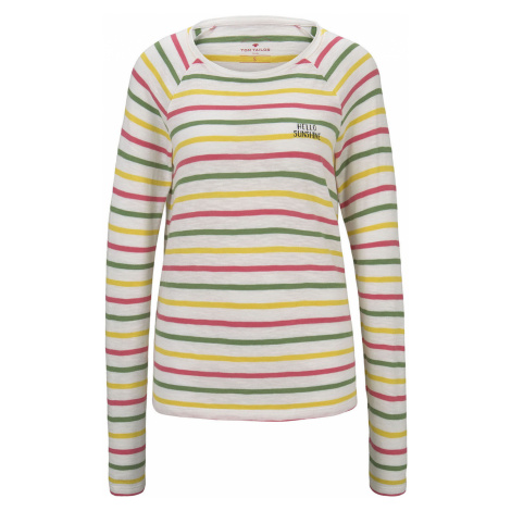 TOM TAILOR Damen Gestreiftes Jersey Langarmshirt, beige, gestreift