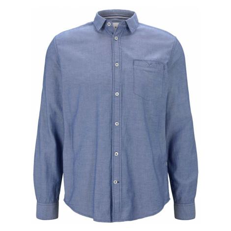 TOM TAILOR Herren Gemustertes Hemd mit Brusttasche, blau