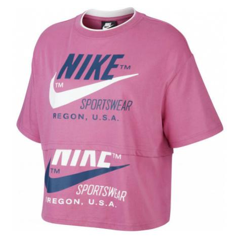 Nike NSW ICN CLSH SS TOP W rosa - Damen Shirt