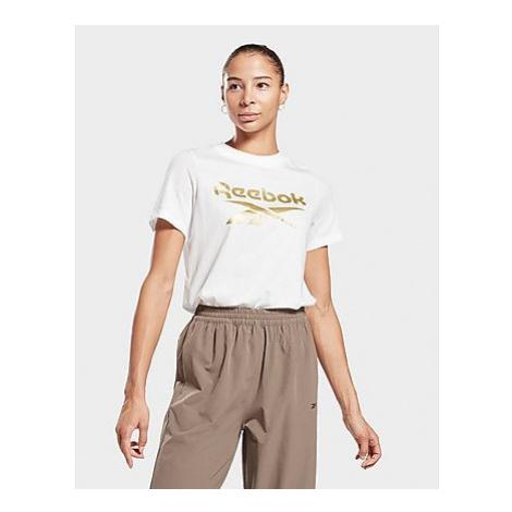 Reebok reebok identity logo t-shirt - White / Gold Metallic - Damen, White / Gold Metallic