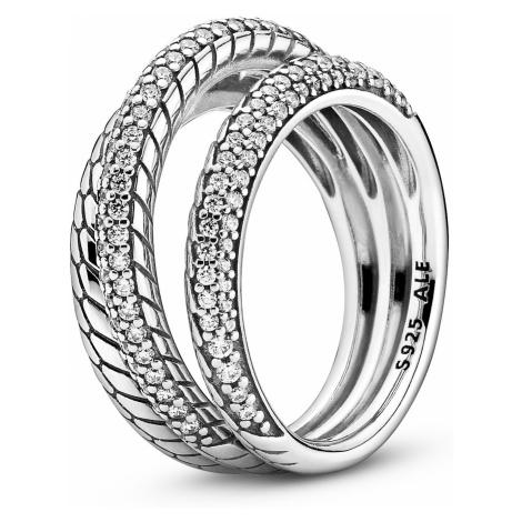Pandora 199083C01 Silberring für Damen mit Schlangenkettenmuster