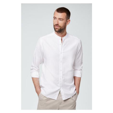 Smart-Shirt Leno mit Stehkragen in Weiß