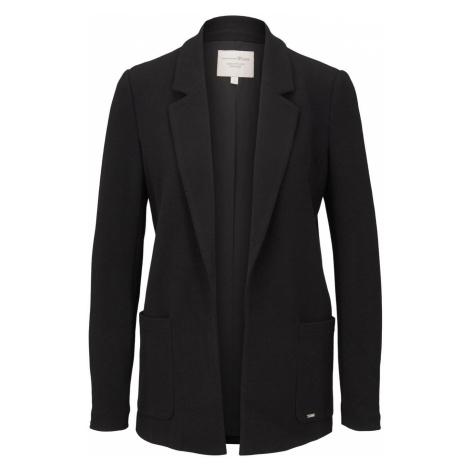 TOM TAILOR DENIM Damen Gerade geschnittener Blazer aus Piqué, schwarz, unifarben