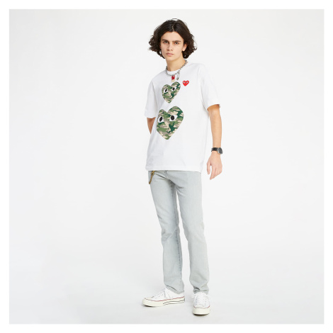 Commes des Garcons Camouflage Double Heart TEE White