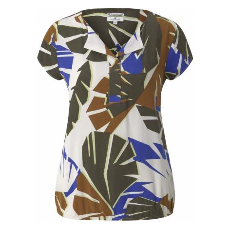 TOM TAILOR Damen Gemusterte Bluse mit LENZING(TM) ECOVERO(TM), grün