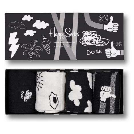 Happy Socks Geschenkbox BLACK AND WHITE SOCKS GIFT SET 4-PACK XBWH09-9100 Schwarz Weiß