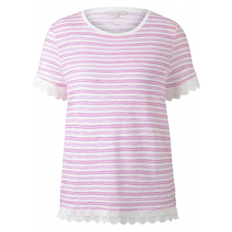 TOM TAILOR DENIM Damen Gestreiftes T-Shirt mit Häkeldetails, rosa