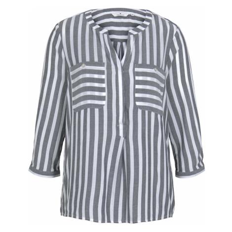 TOM TAILOR Damen Gestreifte Bluse mit Taschen, blau