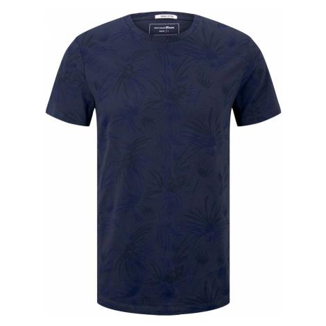 TOM TAILOR DENIM Herren gemustertes T-Shirt mit Bio-Baumwolle, blau