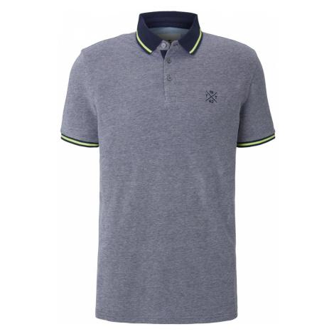 TOM TAILOR Herren Zweifarbiges Poloshirt mit Kontrastblende, grau