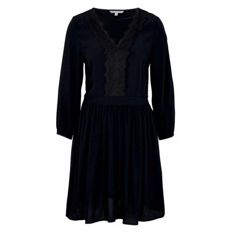 TOM TAILOR DENIM Damen Minikleid mit Spitze, schwarz