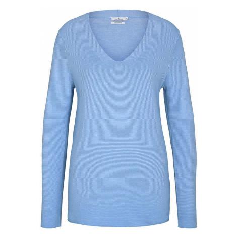 TOM TAILOR Damen Strukturierter Pullover mit Bio-Baumwolle , blau