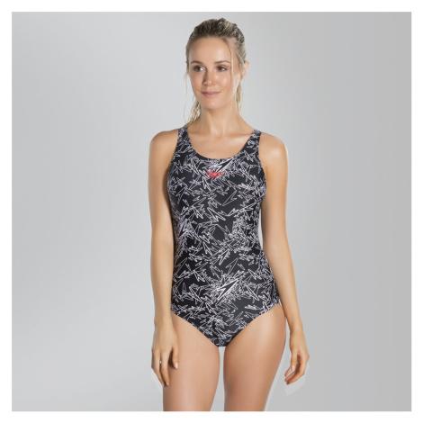 Speedo Boom Muscleback Badeanzug mit Allover-Print, Schwarz/Weiss