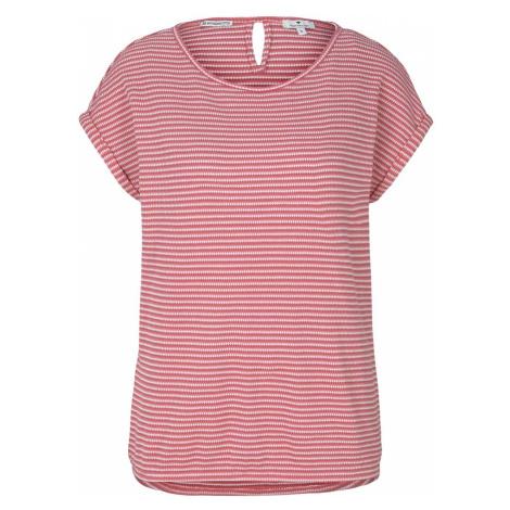 TOM TAILOR Damen Strukturiertes T-Shirt mit Bio-Baumwolle , rot