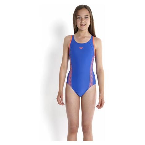 Speedo Mädchen Monogram Muscleback Badeanzug, Blau/Rot