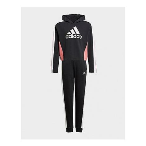 Adidas Colorblock Crop Top Trainingsanzug - Black / White / Hazy Rose, Black / White / Hazy Rose