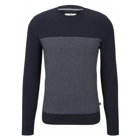 TOM TAILOR Herren Sweater im Struktur-Mix, blau, unifarben mit Print