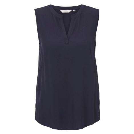 TOM TAILOR Damen Ärmellose Bluse mit LENZING(TM) ECOVERO(TM), blau