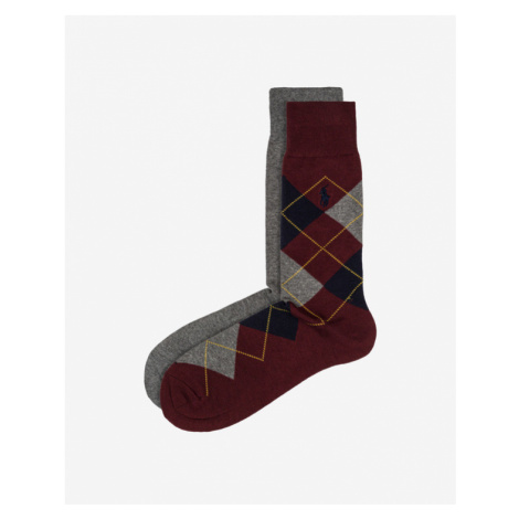 Polo Ralph Lauren Socken 2 Paar Rot Grau