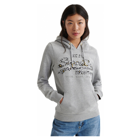 Superdry Sweater Damen VINTAGE LOGO ANIMAL EMBOSS INFILL ENTRY Grey Marl
